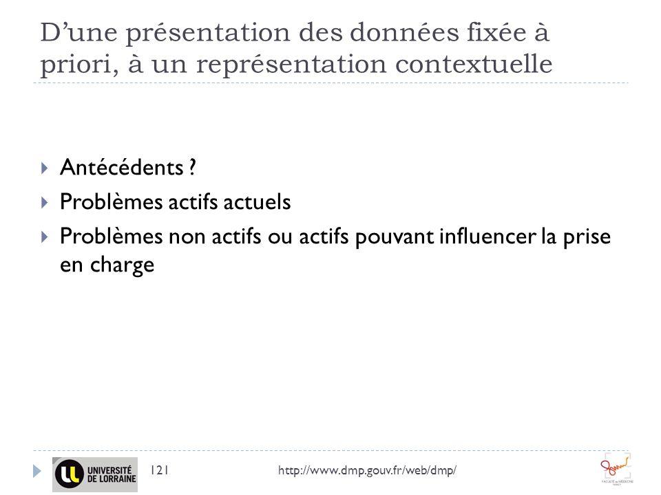 D'une présentation des données fixée à priori, à un représentation contextuelle