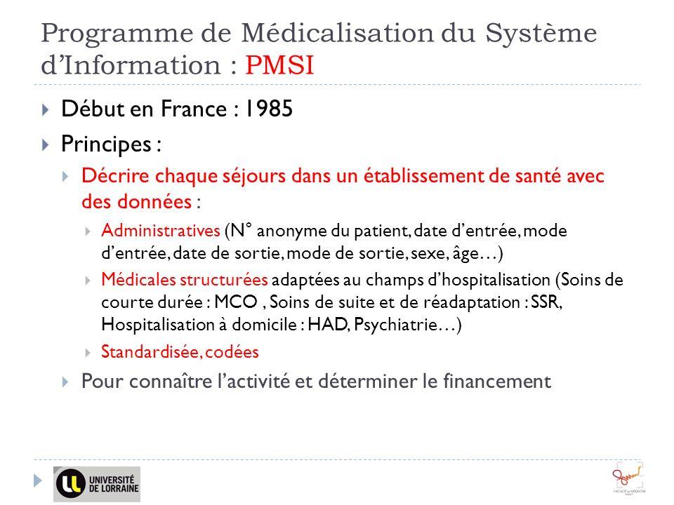 Programme de Médicalisation du Système d'Information : PMSI