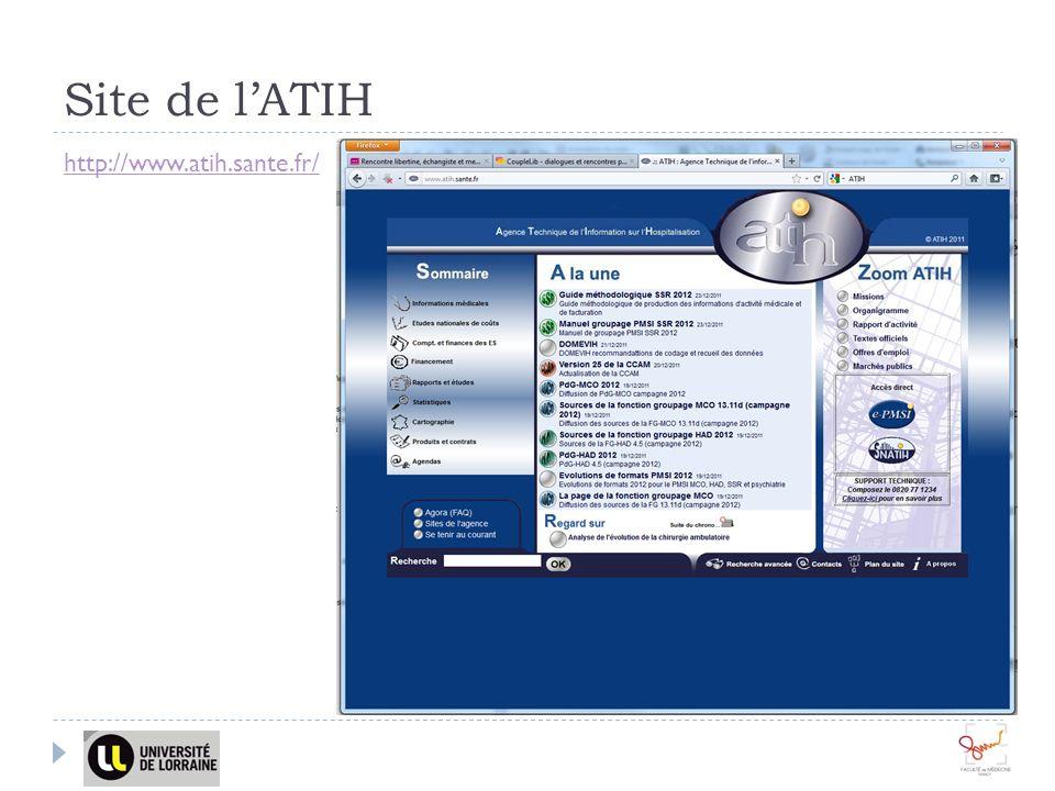 Site de l'ATIH http://www.atih.sante.fr/