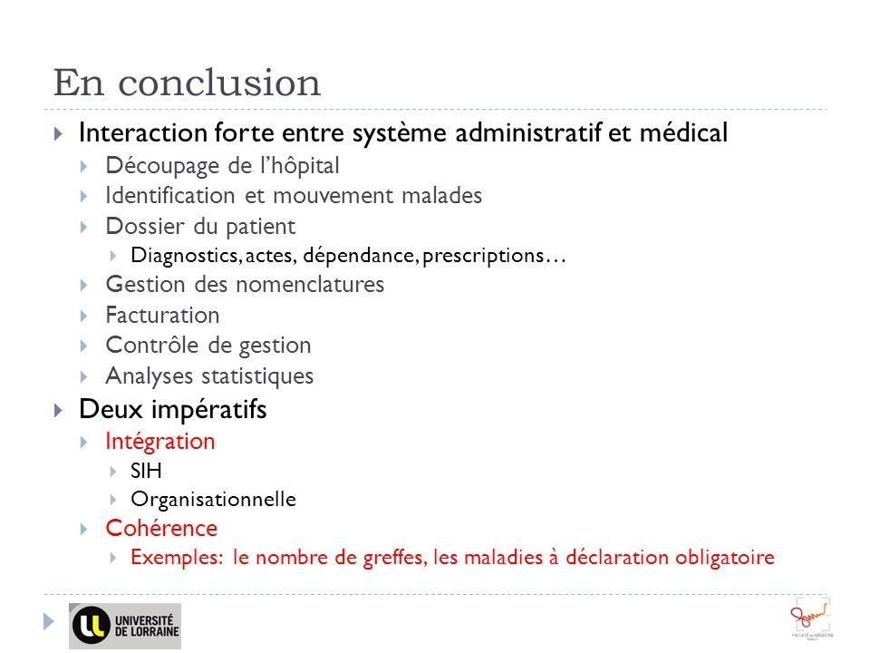 En conclusion Interaction forte entre système administratif et médical