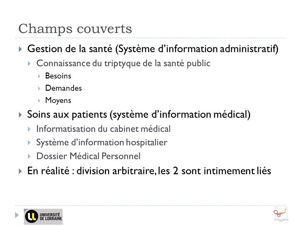 Champs couverts Gestion de la santé (Système d'information administratif) Connaissance du triptyque de la santé public.