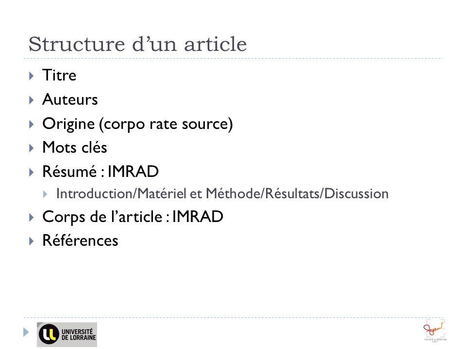 Structure d'un article