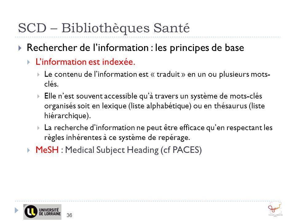 SCD – Bibliothèques Santé