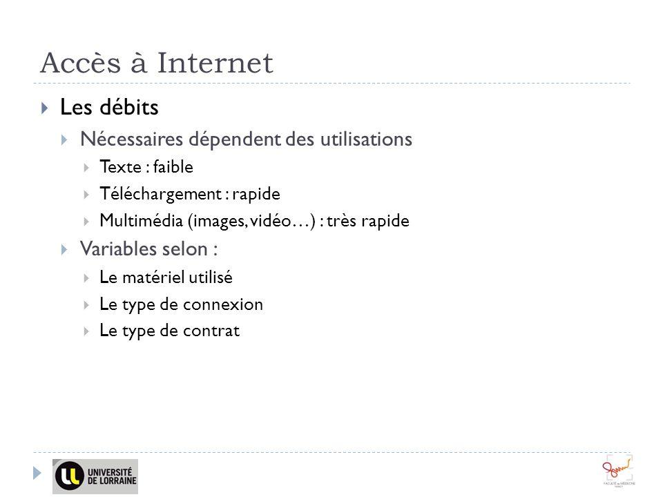 Accès à Internet Les débits Nécessaires dépendent des utilisations