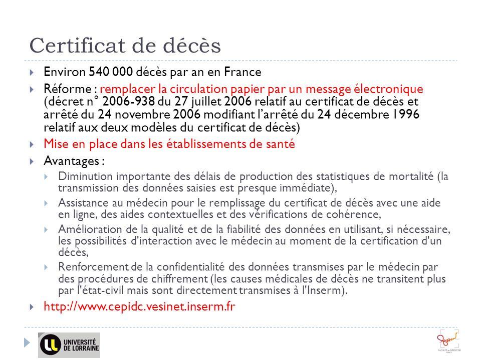 Certificat de décès Environ 540 000 décès par an en France