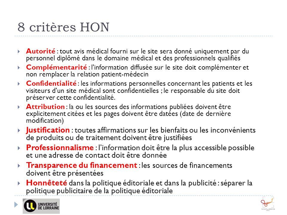 8 critères HON