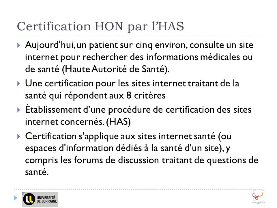 Certification HON par l'HAS