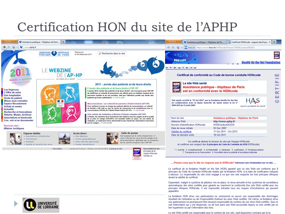 Certification HON du site de l'APHP