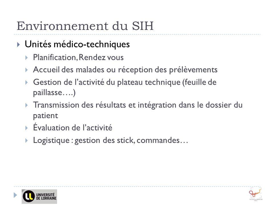 Environnement du SIH Unités médico-techniques