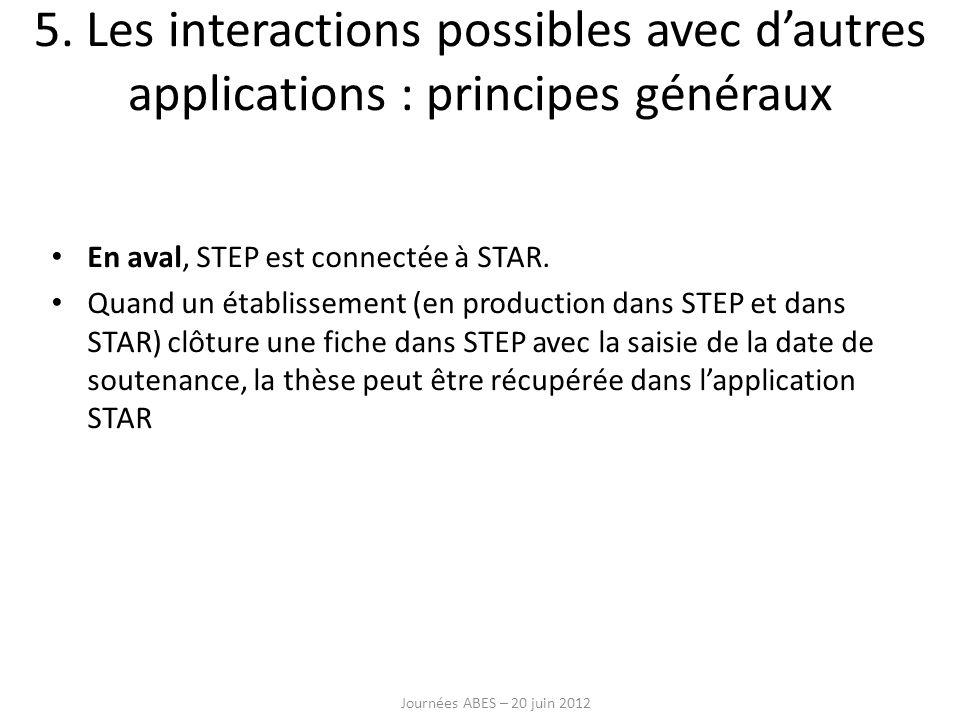 5. Les interactions possibles avec d'autres applications : principes généraux