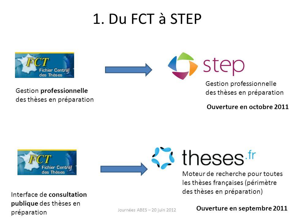 1. Du FCT à STEP Gestion professionnelle des thèses en préparation