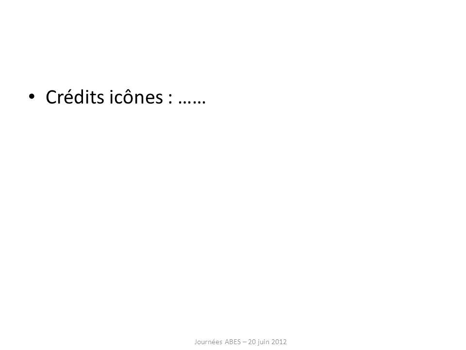 Crédits icônes : …… Journées ABES – 20 juin 2012
