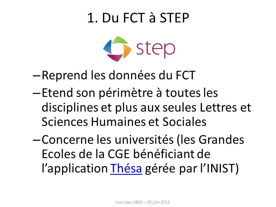1. Du FCT à STEP Reprend les données du FCT