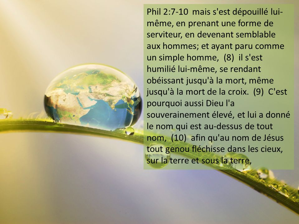 Phil 2:7-10 mais s est dépouillé lui-même, en prenant une forme de serviteur, en devenant semblable aux hommes; et ayant paru comme un simple homme, (8) il s est humilié lui-même, se rendant obéissant jusqu à la mort, même jusqu à la mort de la croix.