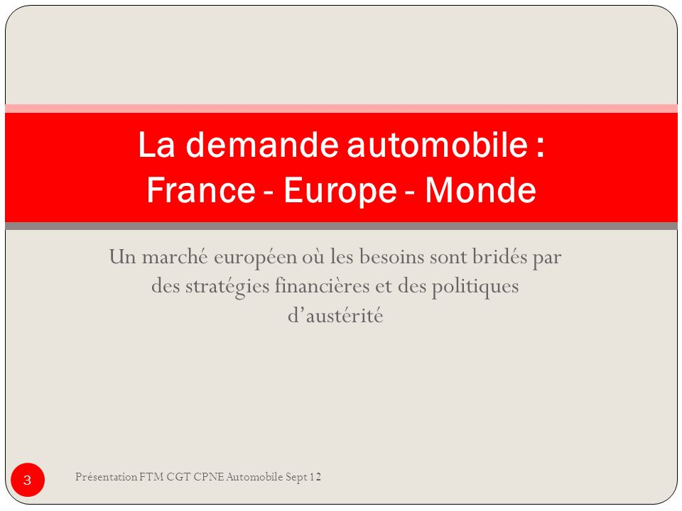 La demande automobile : France - Europe - Monde