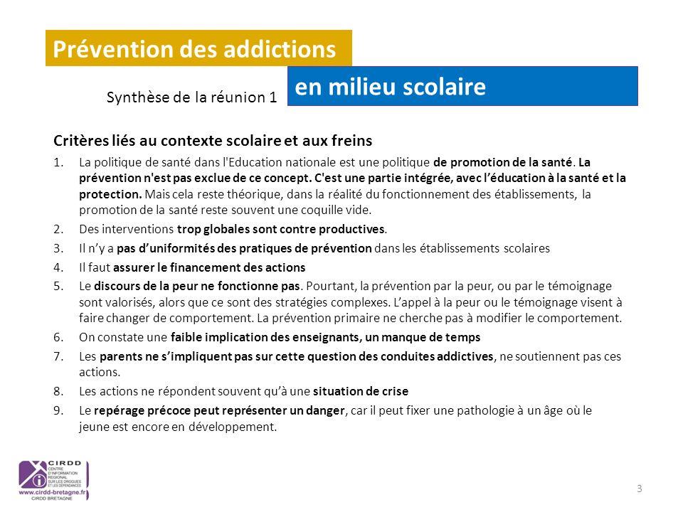 Prévention des addictions en milieu scolaire