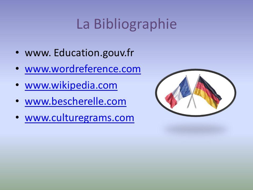 La Bibliographie www. Education.gouv.fr www.wordreference.com