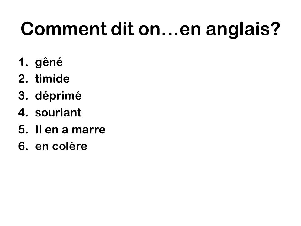 Comment dit on…en anglais