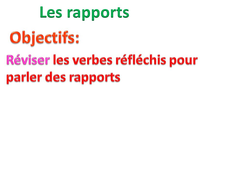 Les rapports Objectifs: