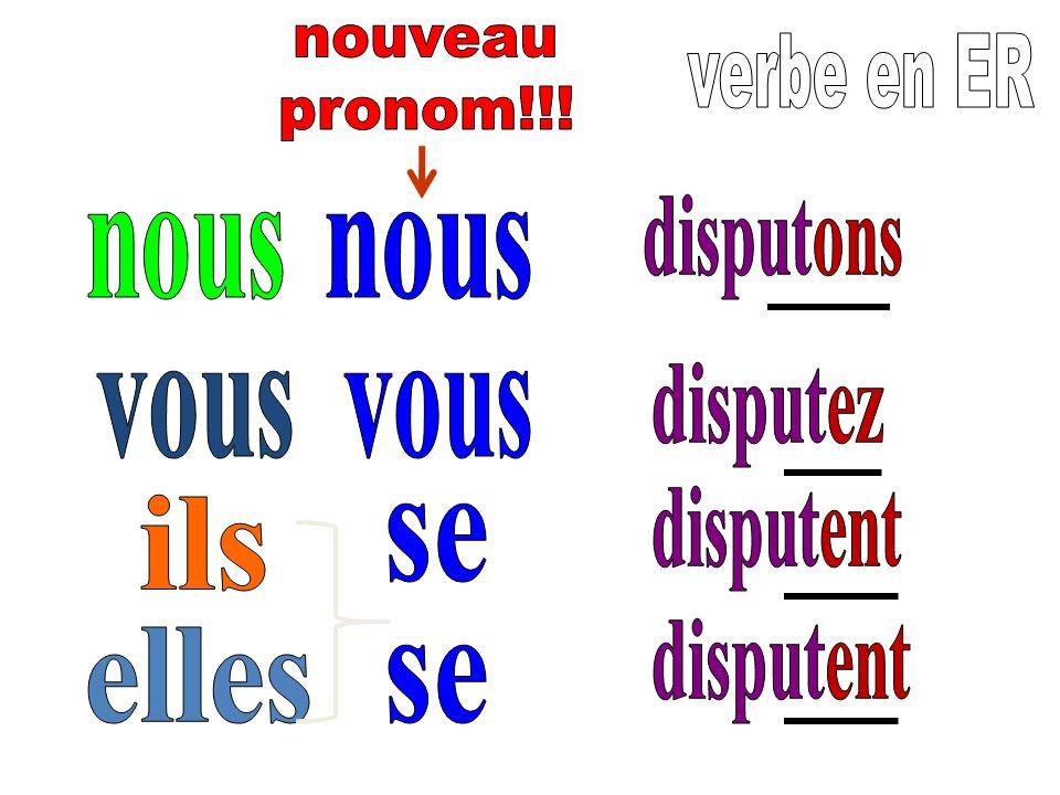 nouveau pronom!!! verbe en ER. disputons. nous. nous. disputez. vous. vous. disputent. ils.