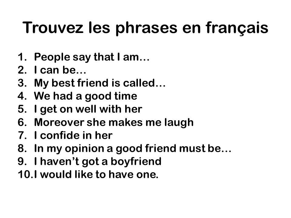 Trouvez les phrases en français