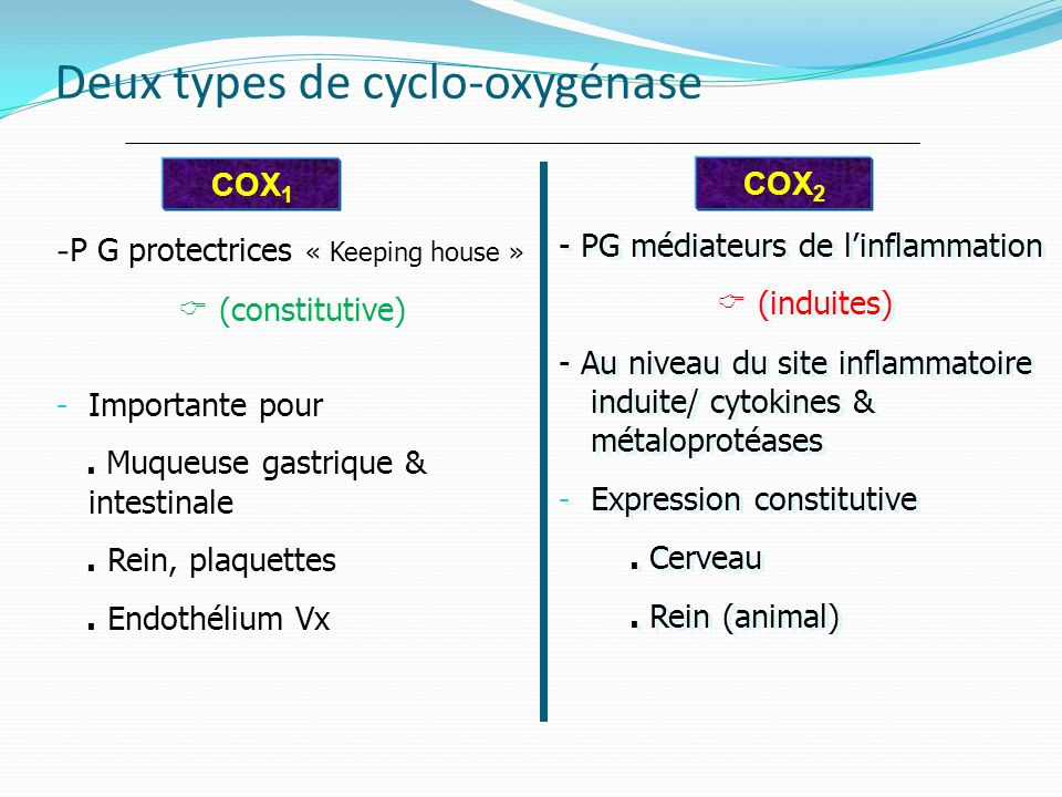 Deux types de cyclo-oxygénase