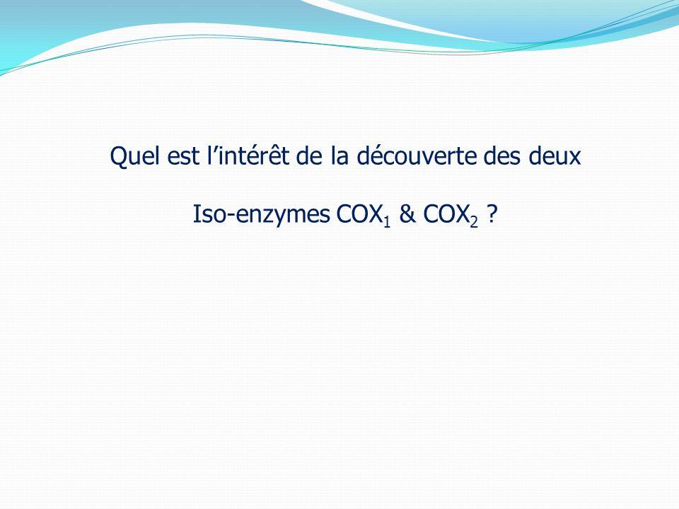 Quel est l'intérêt de la découverte des deux Iso-enzymes COX1 & COX2