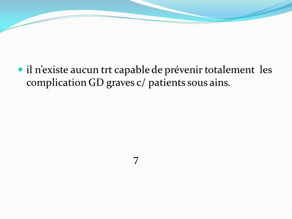 il n'existe aucun trt capable de prévenir totalement les complication GD graves c/ patients sous ains.