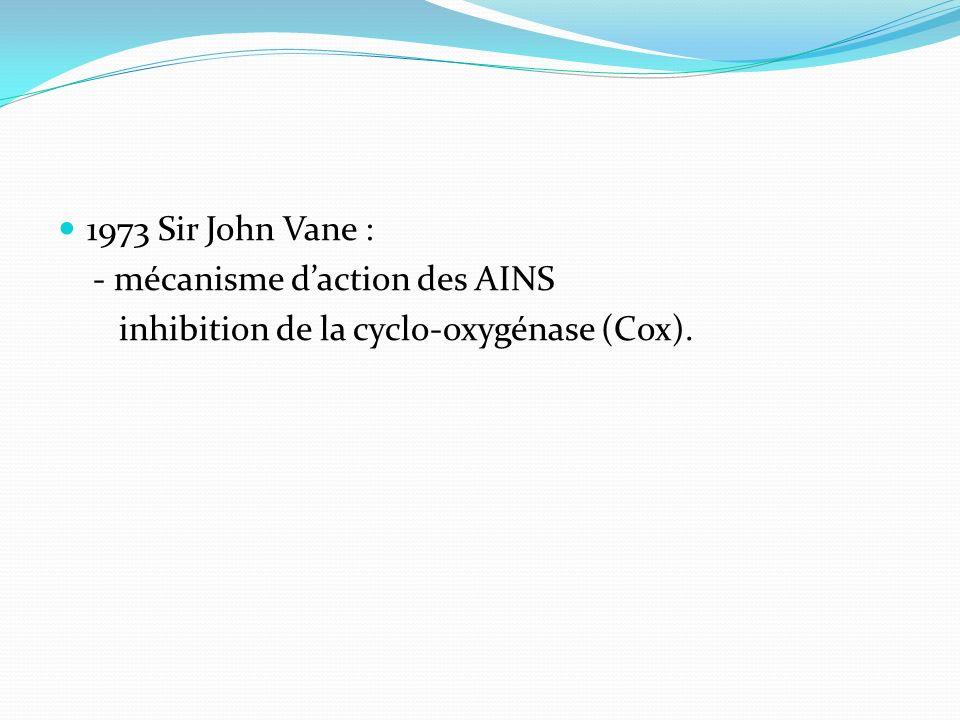 1973 Sir John Vane : - mécanisme d'action des AINS inhibition de la cyclo-oxygénase (Cox).
