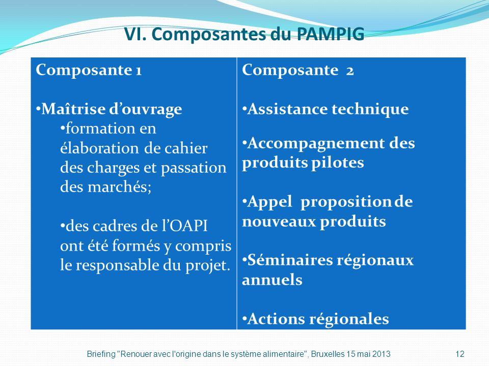 VI. Composantes du PAMPIG