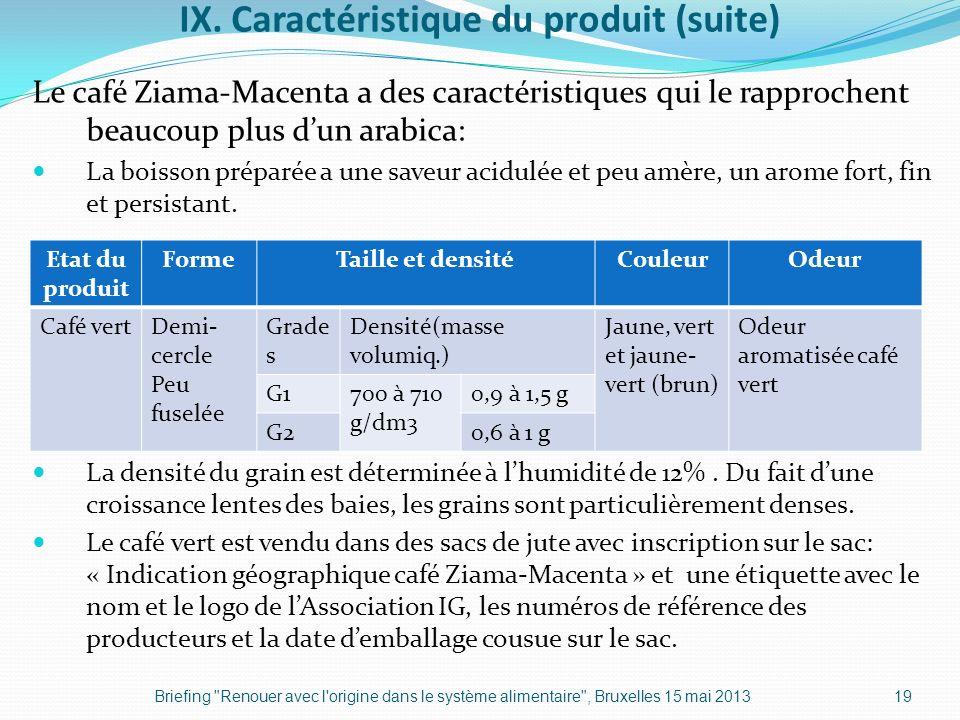 IX. Caractéristique du produit (suite)