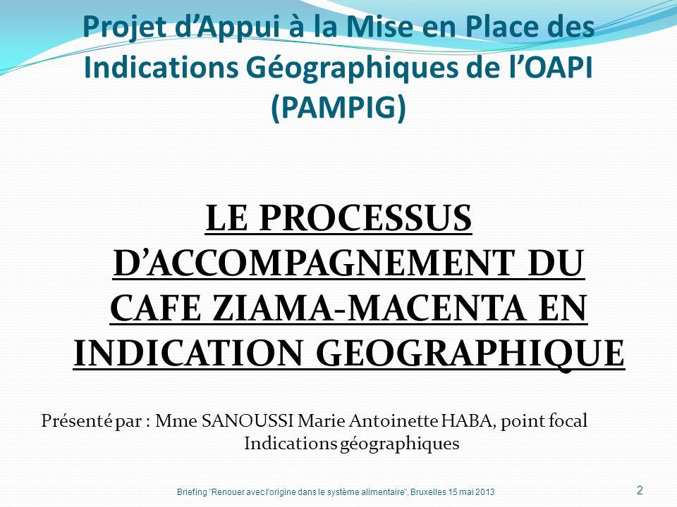 Projet d'Appui à la Mise en Place des Indications Géographiques de l'OAPI (PAMPIG)