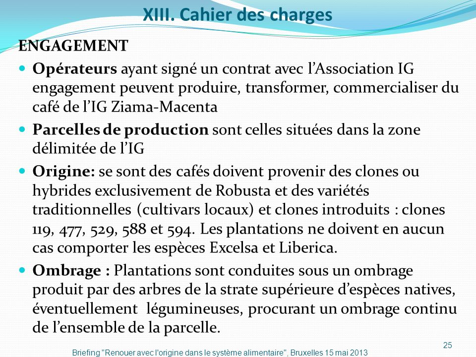 XIII. Cahier des charges