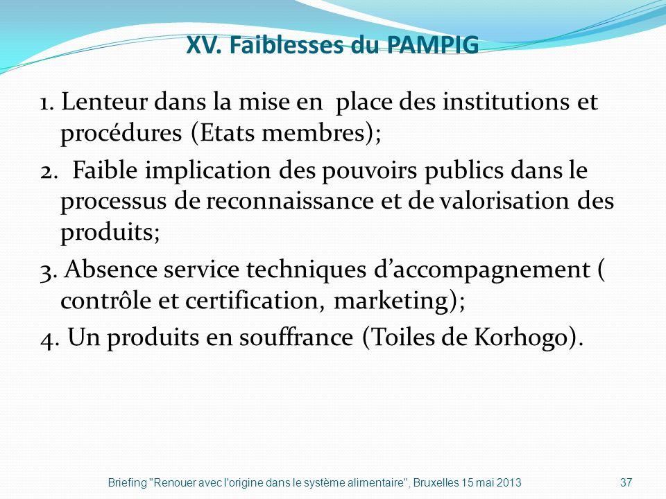 XV. Faiblesses du PAMPIG