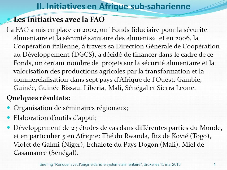 II. Initiatives en Afrique sub-saharienne