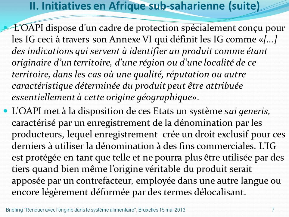 II. Initiatives en Afrique sub-saharienne (suite)