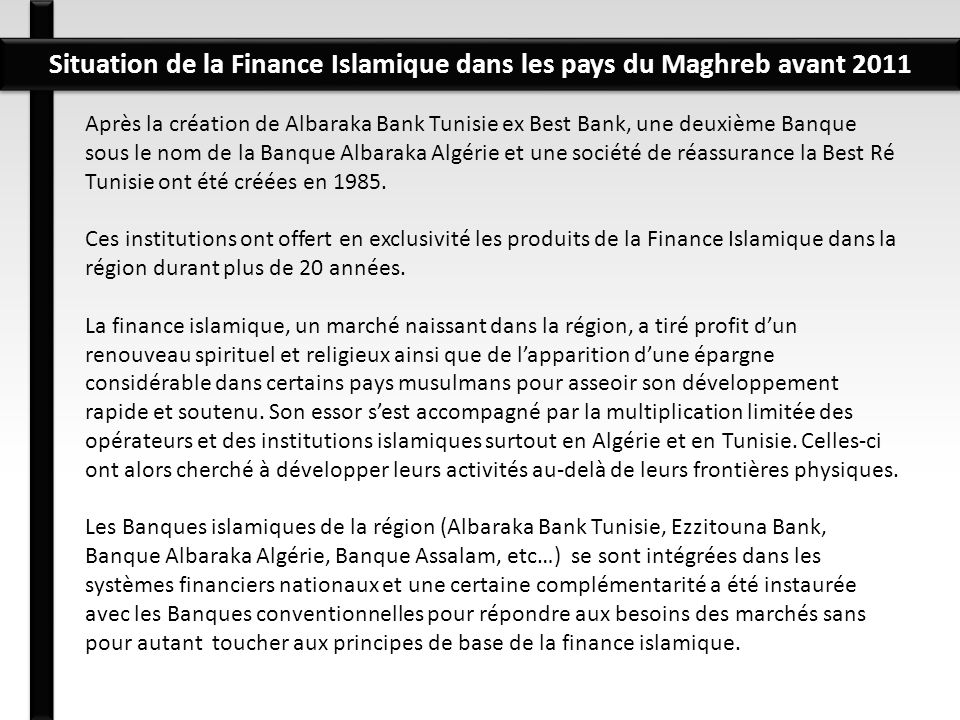 Situation de la Finance Islamique dans les pays du Maghreb avant 2011