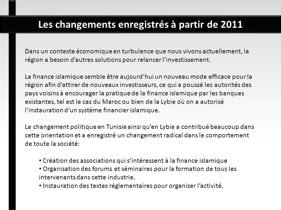 Les changements enregistrés à partir de 2011