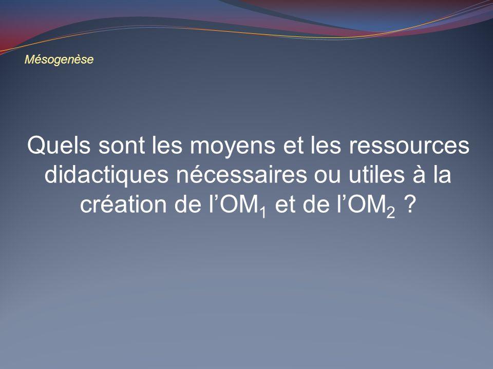 Mésogenèse Quels sont les moyens et les ressources didactiques nécessaires ou utiles à la création de l'OM1 et de l'OM2