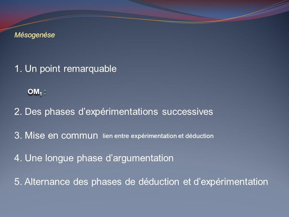 2. Des phases d'expérimentations successives