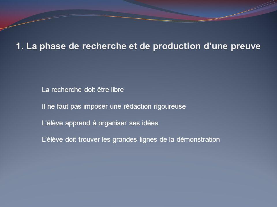 La phase de recherche et de production d'une preuve