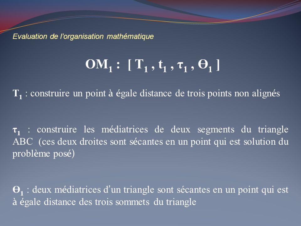 Evaluation de l'organisation mathématique