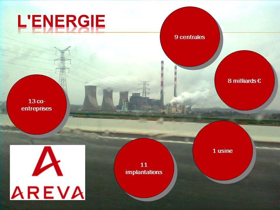 L Energie 9 centrales 8 milliards € 13 co-entreprises 1 usine