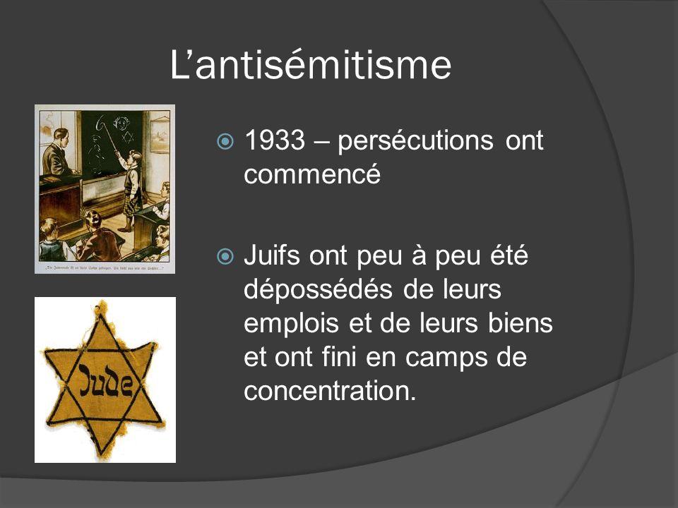 L'antisémitisme 1933 – persécutions ont commencé