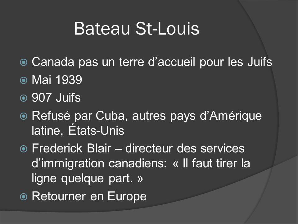 Bateau St-Louis Canada pas un terre d'accueil pour les Juifs Mai 1939
