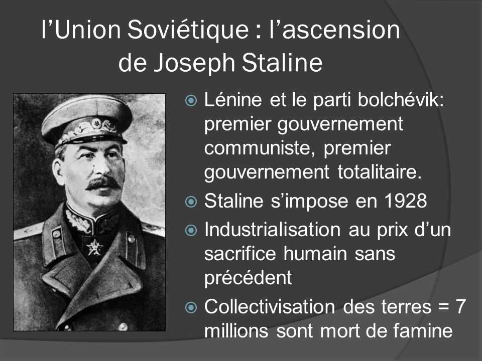 l'Union Soviétique : l'ascension de Joseph Staline
