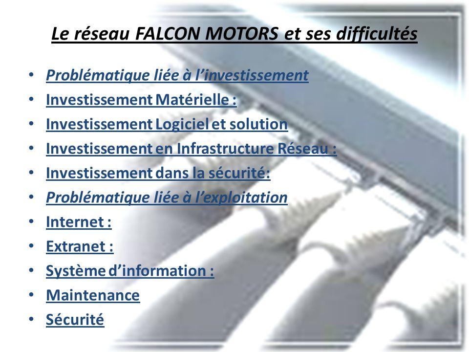 Le réseau FALCON MOTORS et ses difficultés