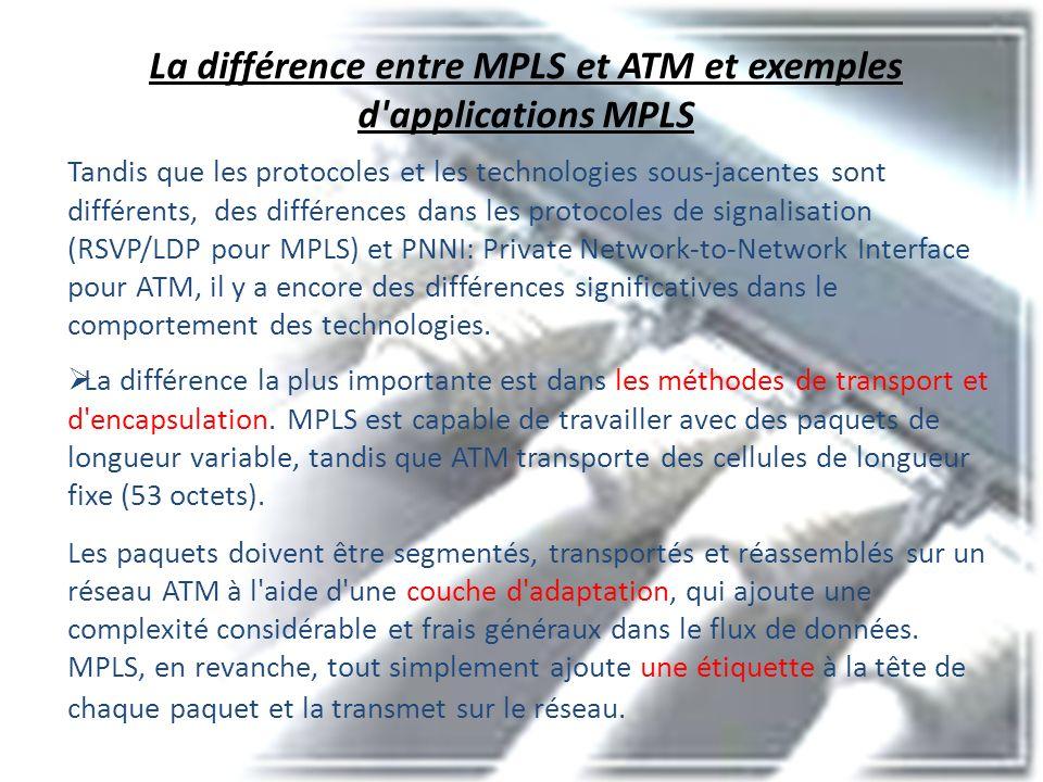 La différence entre MPLS et ATM et exemples d applications MPLS