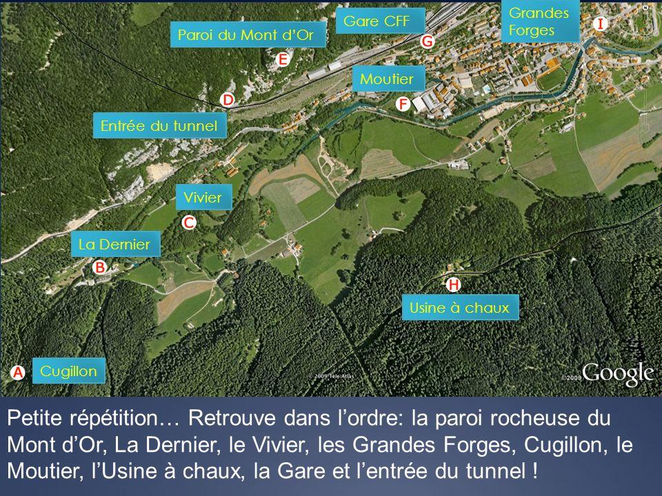 Grandes Forges. Gare CFF. Paroi du Mont d'Or. Moutier. Entrée du tunnel. Vivier. La Dernier. Usine à chaux.