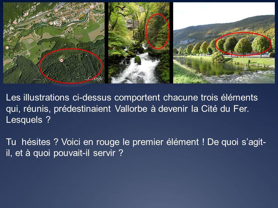 Les illustrations ci-dessus comportent chacune trois éléments qui, réunis, prédestinaient Vallorbe à devenir la Cité du Fer. Lesquels